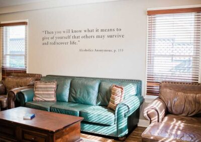 Sober Clubhouse Couches and AA Quote 2