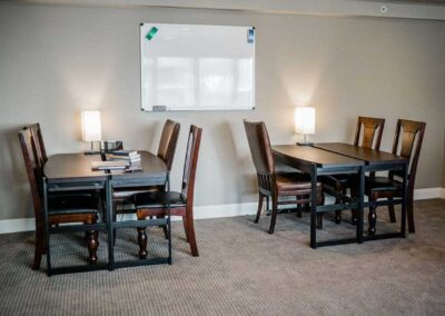 Study area at the Sober Clubhouse